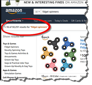 Amazon fidget spinners listing